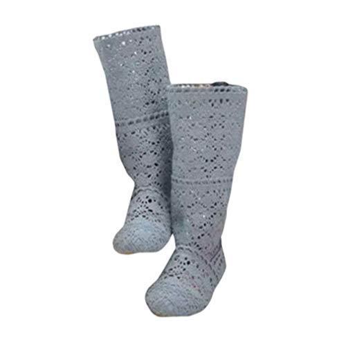 Yying Damen Sommer Stiefel Stiefeletten Flach Stickerei Hohe Stiefel, Sexy Mesh Schlupfstiefel, Slip-On Schuhe Boots