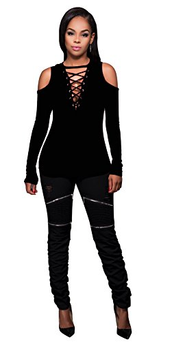 Femmes Sexy Strapless V-cou Bandage Croix à manches longues Chemise Slim Top Blouse Noir