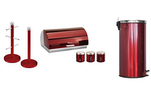 Passende Küche Set von drei Artikel: Brot Bin- und Kanister, 30Liter Pedal Bin- und Becherbaum und Küchenrollenhalter Ständer Set in Rot