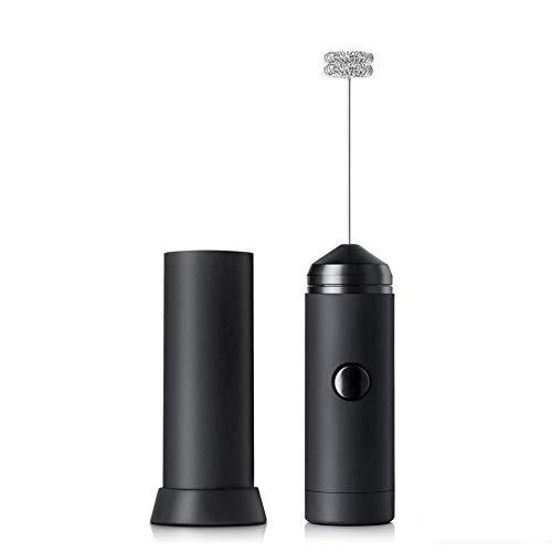 Cappuccino-boden (WJSW Milchaufschäumer Handheld Electric Foam Maker Batteriebetriebener Schneebesen für Eierkaffee Cappuccino Latte mit Deckel und Boden Schwarz)