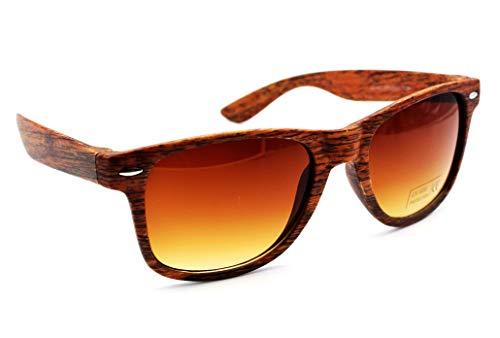 Sonnenbrille Holz Holzoptik mit Brillen Etui - UV400 - verschiede Farben und Muster für Damen und Herren verspiegelt sunglass UV-Schutz Holz Optik Natur Braun