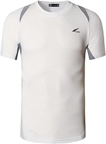 Jeansian Uomo Asciugatura Rapida Sportivo Casuale Slim Sports Fashion Tee T-Shirts Camicie LSL020 LSL601_White
