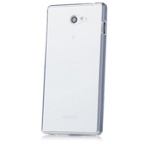 iCues Schutzhülle für Sony Xperia M2 | Transparent TPU Case Klar | [Bildschirm Schutzfolie Inklusive] Transparent Klarsichthülle Durchsichtig Klare Klarsicht Silikon Gel Hülle Cover Schutz