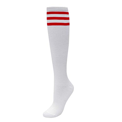 Kostüm Fußball Mädchen - CHIC DIARY Kniestrümpfe Damen Mädchen Fußball Sport Socken College Cheerleader Kostüm Strümpfe Cosplay Streifen Strumpf
