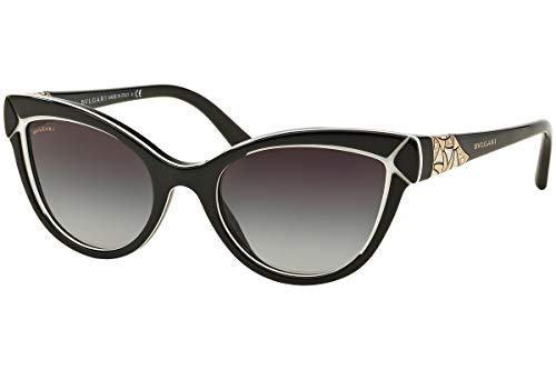 Bulgari Damen 0Bv8156B 53878G 54 Sonnenbrille, Schwarz (Black/White/Grey)