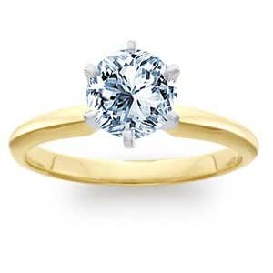 0.52 Carat I/SI1 Round Certified Diamond Solitaire Engagement Ring in 18ct Solid Yellow Gold