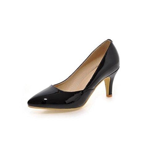 VogueZone009 Femme Pointu Tire Pu Cuir Couleur Unie à Talon Haut Chaussures Légeres Noir