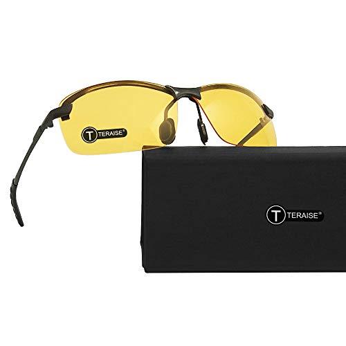 TERAISE Gafas De Visión Nocturna Gafas De Seguridad para Conducir Gafas De Sol Classic Aviator Gafas De Sol HD Antideslumbrantes De Color Amarillo para Hombres y Mujeres