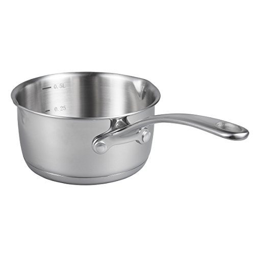 IMEEA® (17oz/500ml) Heavy Duty 18/10 Tri-Ply Stainless Steel Butter Warmer Pan with Dual Pour Spouts, 0.5-Quart