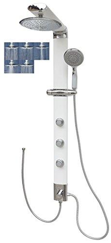Duschpaneel Regendusche Duschsystem Shower Panel Massagedusche Wellnessdusche Dusche Duschkopf Brausekopf Weiß