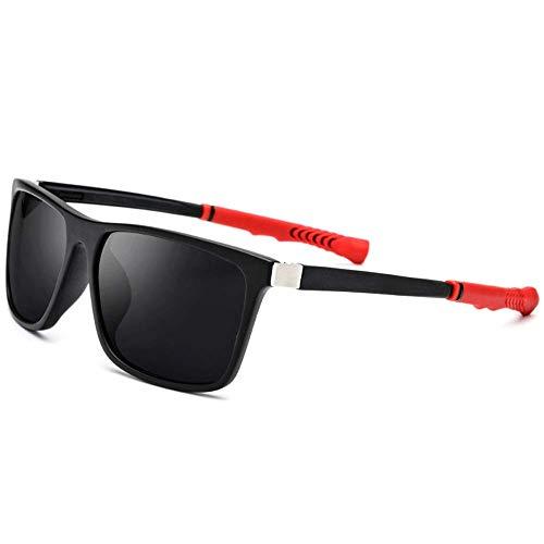BJYG Sport-Sonnenbrille Sport-Herren-Sonnenbrille Versenkbare Weste Slip Square Weibliche Sonnenbrille Verstellbare Sonnenbrille Laufen, Reiten, Angeln Sonnenbrille (Farbe: Schwarzer Rahmen graue
