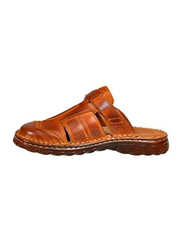 Herren Bequeme Sandalen Schuhe Mit Der Orthopadischen Einlage Aus Echtem Buffelleder Hausschuhe Modell 874 Braun