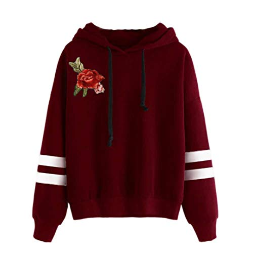Sport Hoodie MEIbax Damen Stickerei Applique Langarm Hoodie Sweatshirt Pullover mit Kapuze Pullover Oberteile Bluse