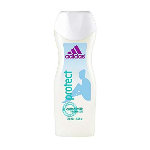 Körper Milch Set (adidas Protect Duschgel für Damen - Feuchtigkeitsspendendes Shower Gel mit floralem, sinnlichem Duft - Für trockene Haut - pH-hautfreundlich - 6er Pack (6 x 250 ml))