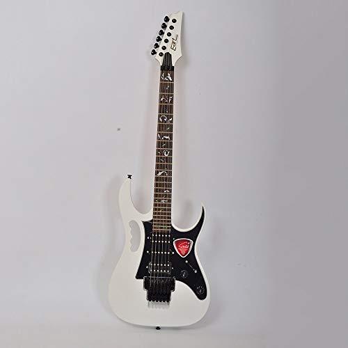 Miiliedy Kostengünstiger Metal Rock-E-Gitarren-Anfänger Erwachsene Üben Spielen Professionelle E-Gitarren-Sets mit Tasche, Gurt, Schnur, Kabel, Poliertuch ( Color : White )