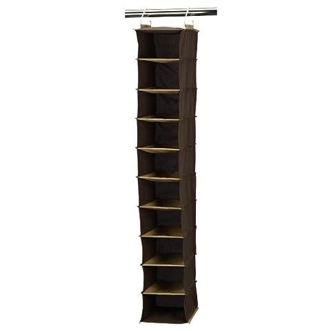 Household Essentials 66032 Hanging Shoe Storage Organizer for Closets | 10 pocket | Coffee Linen
