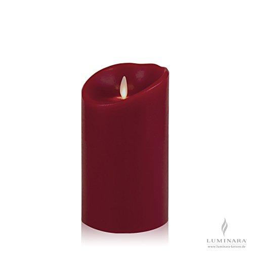 Luminara LED de la vela de cera de 10 x 18 cm de colour burdeos de novicia