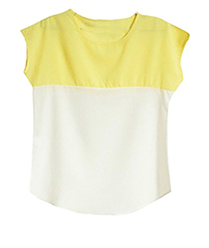 T Shirt Damen Kurzarm Locker Sport Elegant Rundhals Unifarben Figurbetont  Irregular Zweifarbig Stitching Chiffonbluse Shirt Gelb