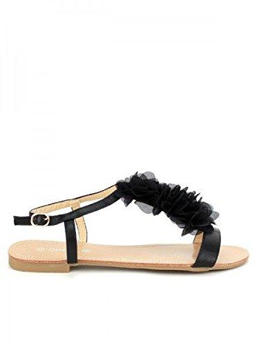 Cendriyon, Sandale Noire Tulle FROUFROU Chaussures Femme Noir