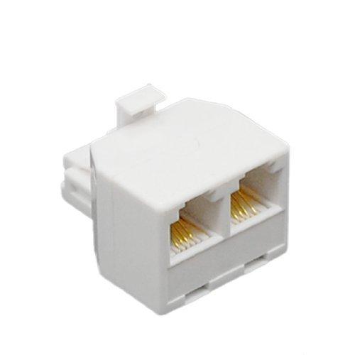 DealMux 2-Wege 6P4C RJ11 Telefon Wand-Adapter und Splitter für Festnetz-Telefon (Zwei-wege-telefon-splitter)