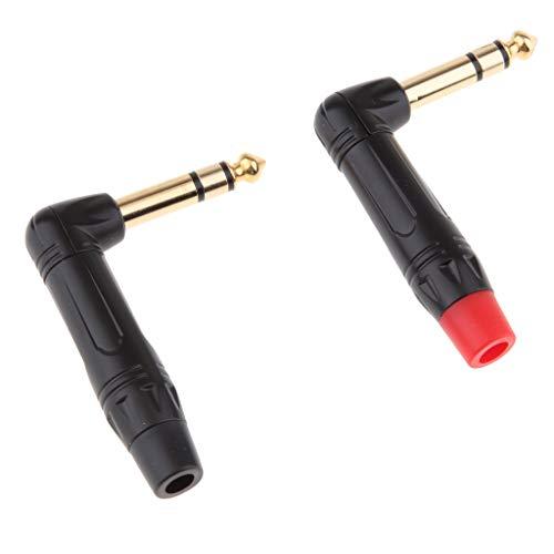 KESOTO 2pz DIY 6,35mm Maschio Audio Stereo Convertitore Connettore per Microfono Amplificatore - Nero Rosso Angolo Retto