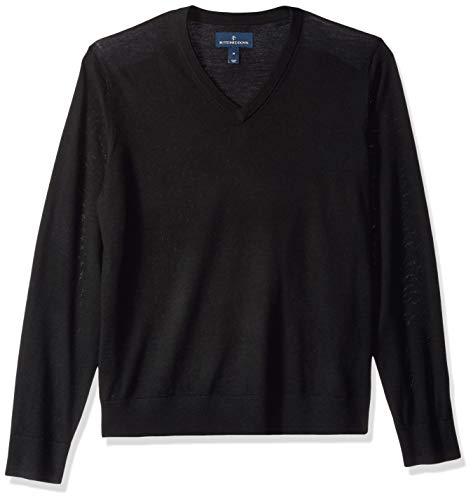 Leichte Wolle-pullover (Buttoned Down Herren Leichter Cash-Wolle-Pullover aus Italienischer Merinowolle mit V-Ausschnitt, Schwarz (Black Bla), X-Large)