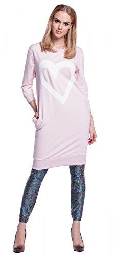 Glamour Empire. Donna Tunica-Felpa Top Lungo Cuore Stampa Tasche Laterali. 606 Rosa Cipria