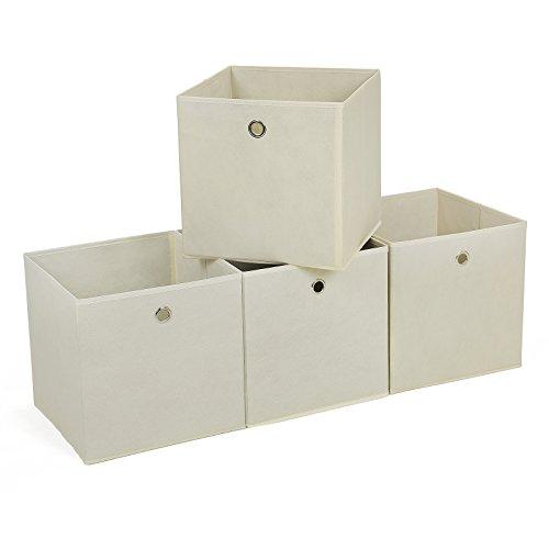 Songmics Juego de 4 cajas de almacenaje Cubos de tela Plegable 30 x 30 x 30 cm Beige RFB02M-2