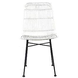 Chaise Elia Lot de 2 chaises en rotin Blanc – Pieds en Metal – Ethnique – L 44 x P 40 cm