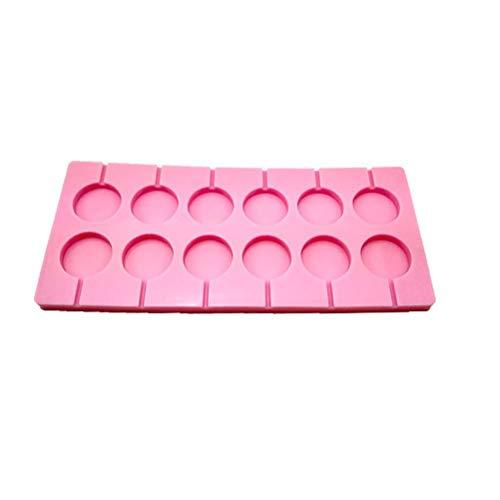 Bestonzon Silikonform für Lollis, Lutscher, für 12 Stück, robust, auch geeignet als Schokoladenform, mit 12 Lollypop-Stäbchen, ideal für Partys, runde Formen (Rosa) (Halloween Cupcakes Selbstgemacht)
