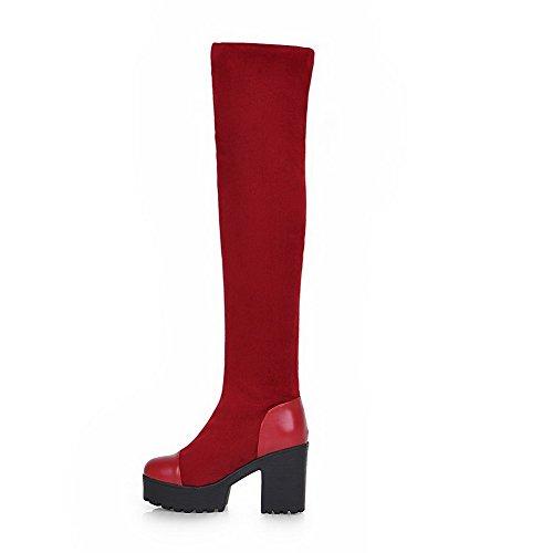 Odomolor Damen Ziehen Auf Hoher Absatz Blend-Materialien Rein Hoch-Spitze Stiefel Rot