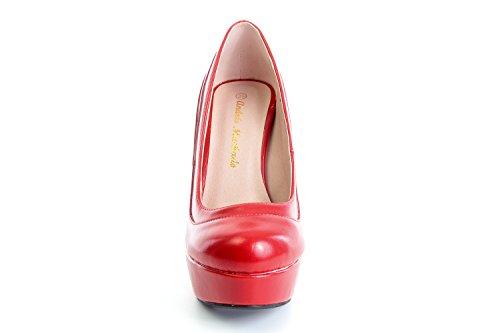 AM589 - Andres Machado - Schuhe aus Ante mit Plateau Rot