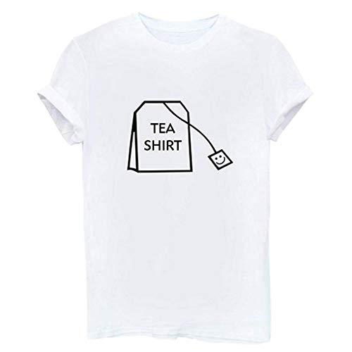 en-lustige Kurzarm-Baumwollhemden Nettes Junior Graphic Tee-Spitzenbluse(XXX-Large,Weiß) ()