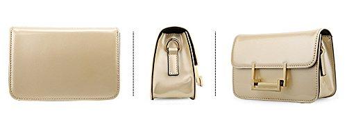 Xinmaoyuan Borse donna brevetto pu borsette in cuoio catena semplice spalla Borsa di tipo cuscino quadrato piccolo sacchetto,rosso Golden