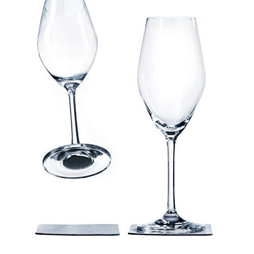 silwy Magnetgläser, feine Kristallgläser mit perfekt integrierten Magneten und metallischen Nano-Gel-Untersetzern - rutschfeste Campinggläser, Boot- und Yachtzubehör (Champagner)