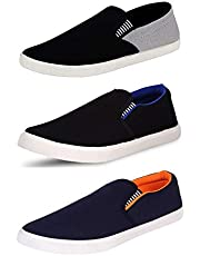 BERLOC Perfect Combo Pack of 3 Loafer Shoes Men (Grey, Black & Orange)
