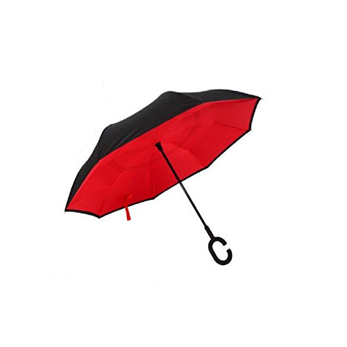 Autonorth Double Layer Reverse Outdoor Stick Umbrella Windproof Waterproof and Self Standing Inside Out Umbrella Best for Travelling and Car Using Color Red