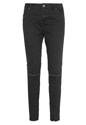Sublevel - Schwarze Damen Twill-Hose mit Knee-Cuts | Bequeme Stretch Hose Skinny Fit Black S