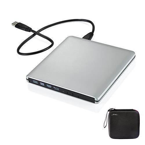 Douper Externe Blu Ray DVD Laufwerk mit Storage Case 4K 3D Super Drive Dünn Ultraslim Aluminium Legierung Tragbar USB 3.0 Blu Ray CD DVD Player Reader Leser Disk für Mac OS, Windows,Linxus, Laptop Dvd-player-case