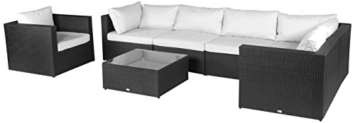 Vanage Hamburg Gartenmöbel-Set XXXL, mit Kissenbezügen zum Wechseln in weiß und anthrazit, schwarz