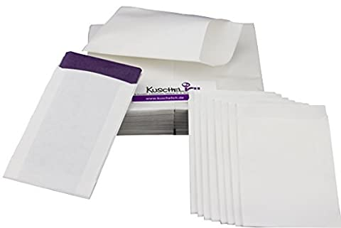 100 weiße Flachbeutel 6,3 x 9,3 cm Verpackung für Freudentränen Taschentücher, zum Basteln, als Gastgeschenk usw. -TOP QUALITÄT aus Deutschland von KuschelICH (100