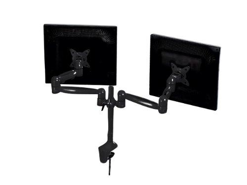 Monoprice Tilt/Swivel DUAL Monitor Desk Mount Bracket (max 17.5 lbs. per arm, 15~22in), Black Flush Mount Lcd Monitor