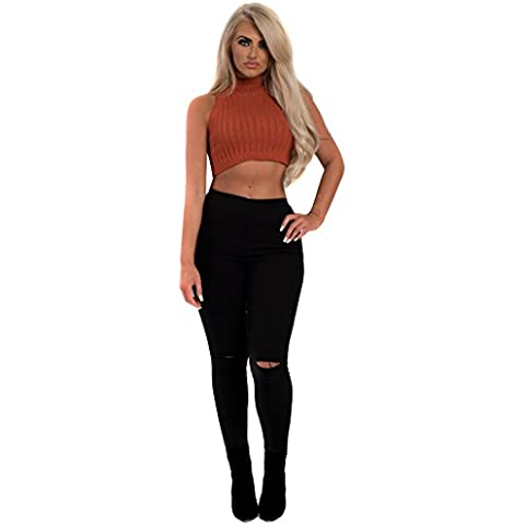 Women's Ladies Stunning Ribbed Polo Neck Crop Knitted