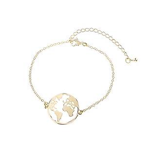 Good.Designs ® Damen Armkette mit Weltkugel Anhänger (verstellbar) Weltkarte Armband mit kleinem Globus