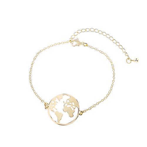Good.Designs ® Damen Armkette mit Weltkugel Anhänger (verstellbar) Weltkarte Armband mit kleinem Globus (Gold) - Welt Findet