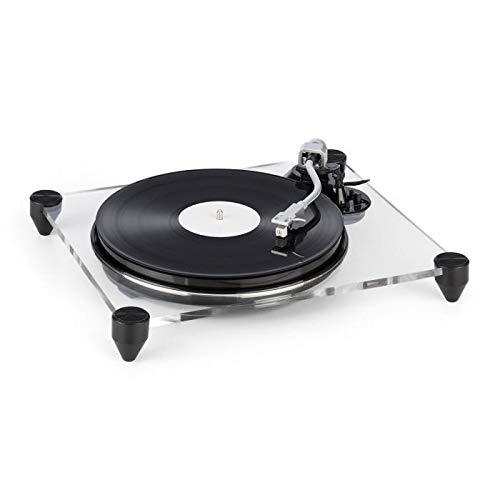 AUNA TT-Pure - Platine Vinyle, Châssis en Verre Acrylique Transparent, Enregistre la Musique des...