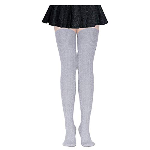 DRESHOW Damen Overknee Knee High Socks Kniestrümpfe Mädchen Warme Beinlinge Stricken Sport Socken Leggings Strümpfe Baumwollstrümpfe
