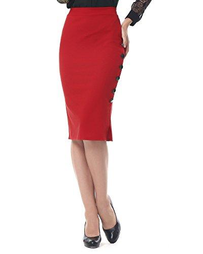 Kenancy Damen Knielang Bleistift Rock Hohe Taille Eng Jerseyrock Große Größen für Business Arbeit Rock Rot