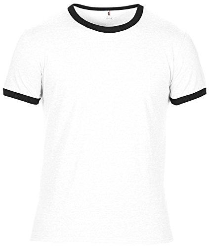 Anvil Adult Lightweight Ringer Tee - 7 Colours / Sml-2XL White/ Black