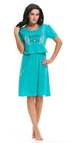 dn-nightwear Damen Umstandsnachthemd / Stillnachthemd TCB.9226 aus 100% Baumwolle Dunkelgrün